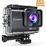 Crosstour Action Camera Real 4K UHD 20MP WIFI Underwater Cam 40M with EIS Anti-Shake Time-Lapse Plus Accessories Sets for Cycling Skiing  Snowboarding Snorkeling