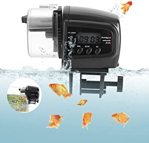 Yosoo Automatic Fish Feeder Turtle Feeder for Aquarium Fish Tank Vacation Weekend Fish Food Dispenser with Automatic Digital Timer for Flake Pellets Aquarium Fish Tank (Not Included Batteries)