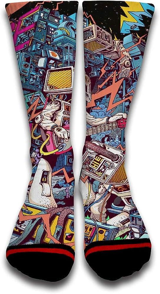 Music Thunder Astronaut Cool Funny Custom Creative Sport 3D Printed Crew Socks