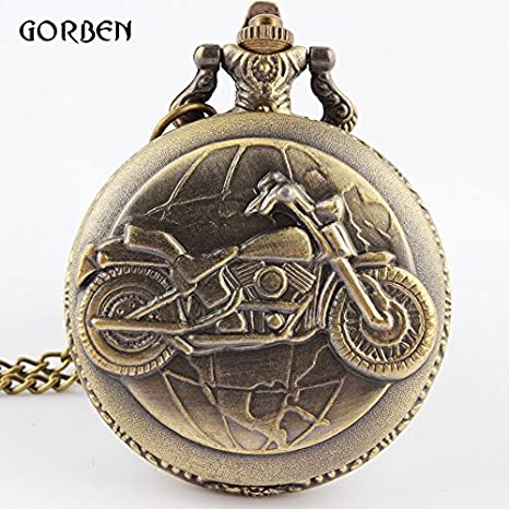 bc1518a4642 Vintage Bronze Motorcycle Motorbike Pocket Watch Retro Necklace Pendant  Chain MOTO Quartz Watch Relogio De Bolso Men Gift  Amazon.in  Beauty