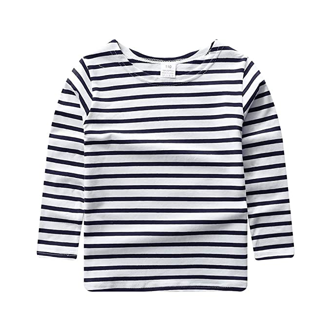 90121e422dd ggudd Boy s Striped T-Shirt Round Neck Long Sleeve Clothes for 2-7 Years