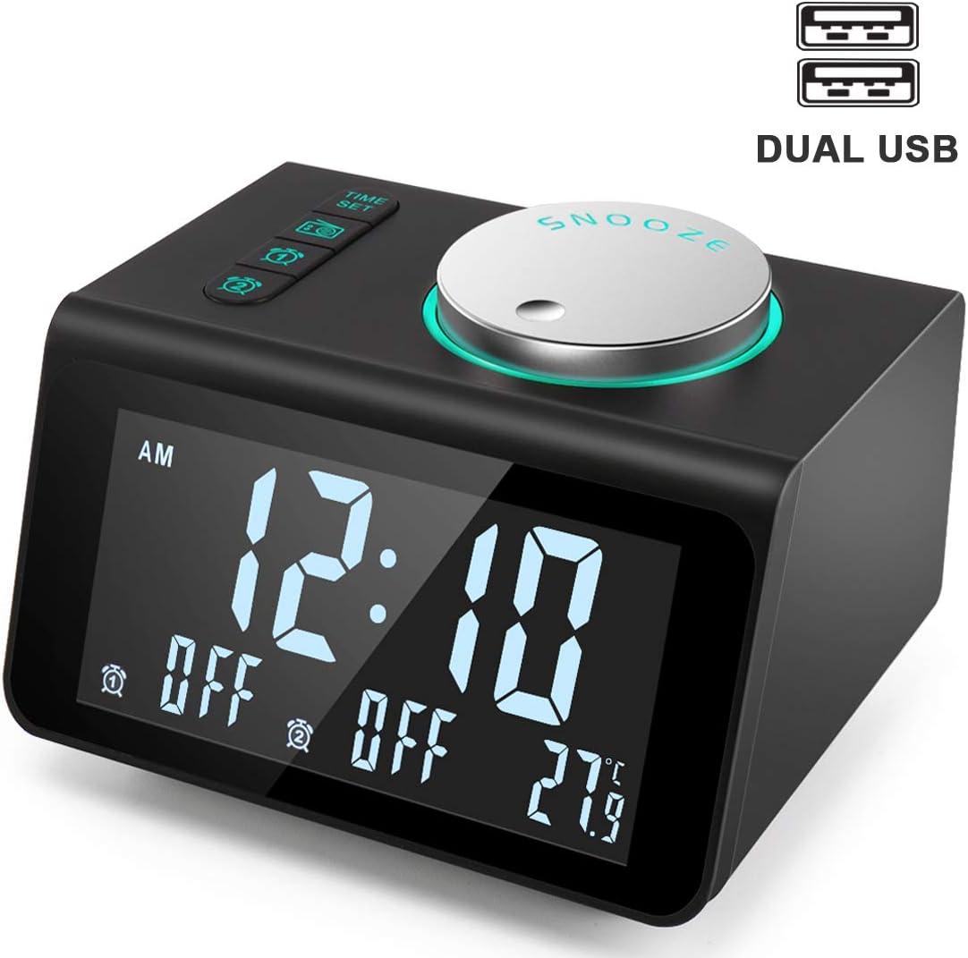 ANJANK Small Alarm Clock Radio - FM Radio,Dual USB Charging Ports,Temperature Display