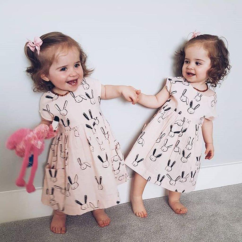 NUWFOR Toddler Baby Kid Girl Summer Rabbit Print Pocket Princess Dresses Casual Clothes(Beige,18-24 Months) by NUWFOR (Image #4)