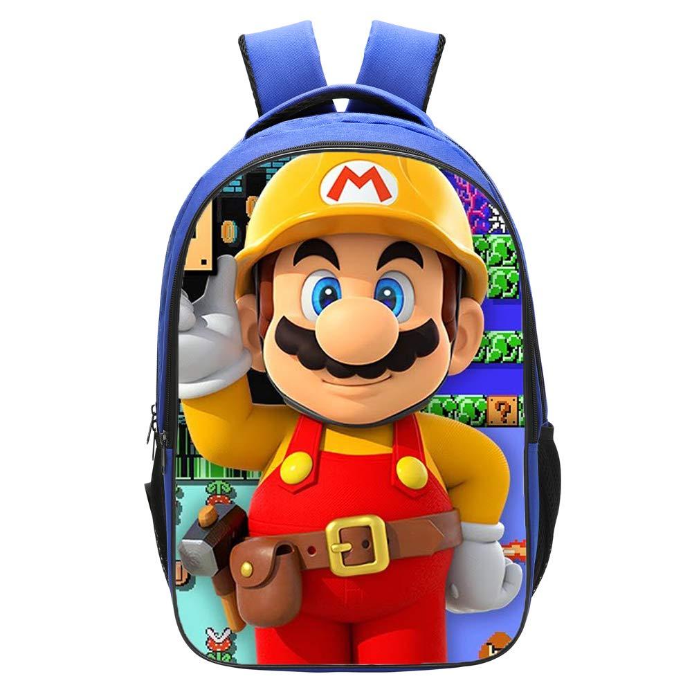 Qushy Super Mario Maker Backpack Schoolbag Bookbag Daypack Blue Bag (e)