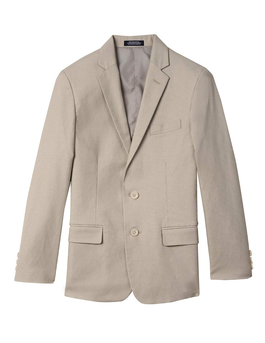 Izod boys Linen Blazer Jacket, Light Stone Linen, 16
