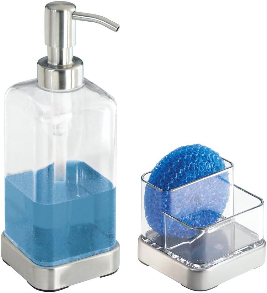 InterDesign Forma Organizador de cocina para fregadero transparente y plateado jabonera peque/ña con porta estropajo en pl/ástico y metal