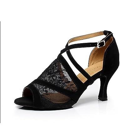 XUE Zapatos Latinos para Mujer/Zapatos de Salón Sandalia de Encaje Hebilla Tacón de Aguja