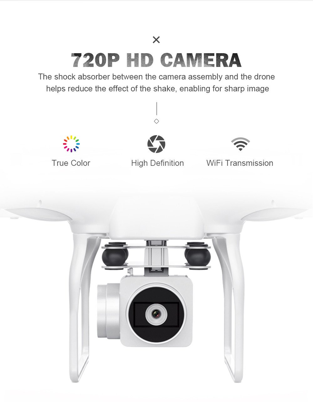 Chartsea Quadcopter Drone with Camera Live Video, JJRC H68 Wide Angle Lens 720P HD Camera WiFi FPV RC Drone (White) by Chartsea (Image #7)