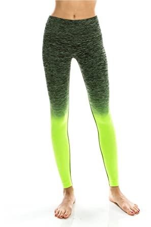 a90655cff5a36 High Waisted Workout Leggings for Women - Two Tone Shade - Full Length  Active Yoga Pants