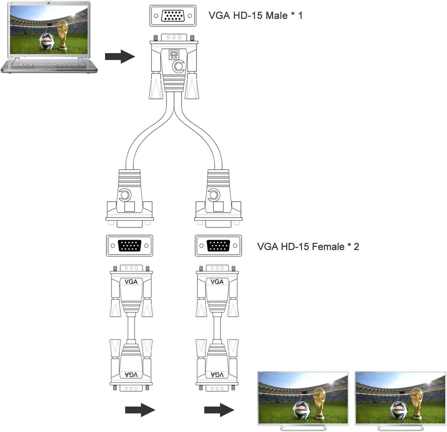 HUACAM 15P VGA Splitterkabel 1 Stecker auf 2 weiblichen Y Adapter Monitor Konverter f/ür PC Video Computer TV Projektor Bildschirm Duplikation 30 cm