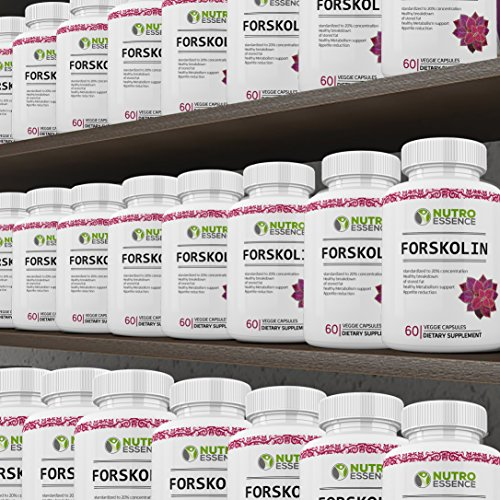 Forskolin Extract Natural Diet Supplement By Nutro Essence- Premium Weight Loss Capsules For Men & Women- 20% Concentration Coleus Forskohlii- Best Fat Breakdown, Appetite Reduction, Metabolism Boost