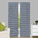 Cheap Navy Blue Zig Zag Print Blackout Window Drapery Panels – Two 84 by 42 Inch Panels