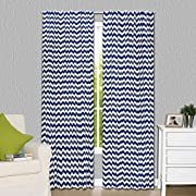 Navy Blue Zig Zag Print Blackout Window Drapery Panels - Two 84 by 42 Inch Panels