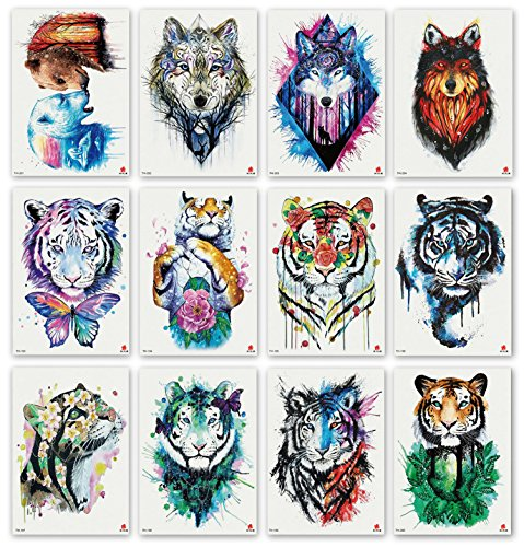 DevilFace Large Temporary tattoos for Men Women, 12 Sheets Fake Tattoos (Tiger Wolf Collection 2)