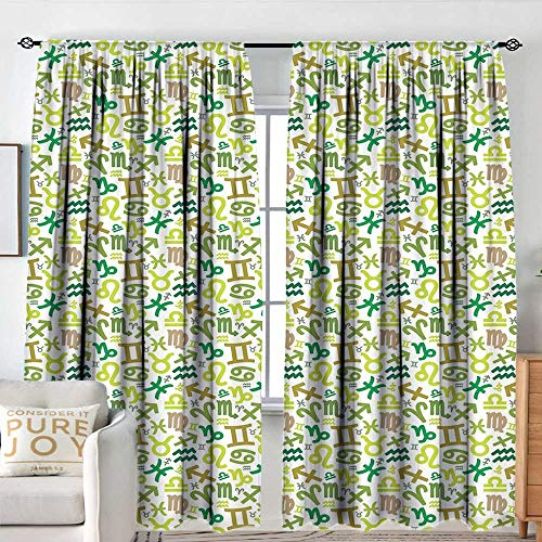 NUOMANAN Sheer Curtains Astrology,Horoscopes Zodiac Symbols Green Tones Pisces Scorpio Leo Libra Icons,Green Khaki Pale Brown,Decor Collection Thermal/Room Darkening Window Curtains 60