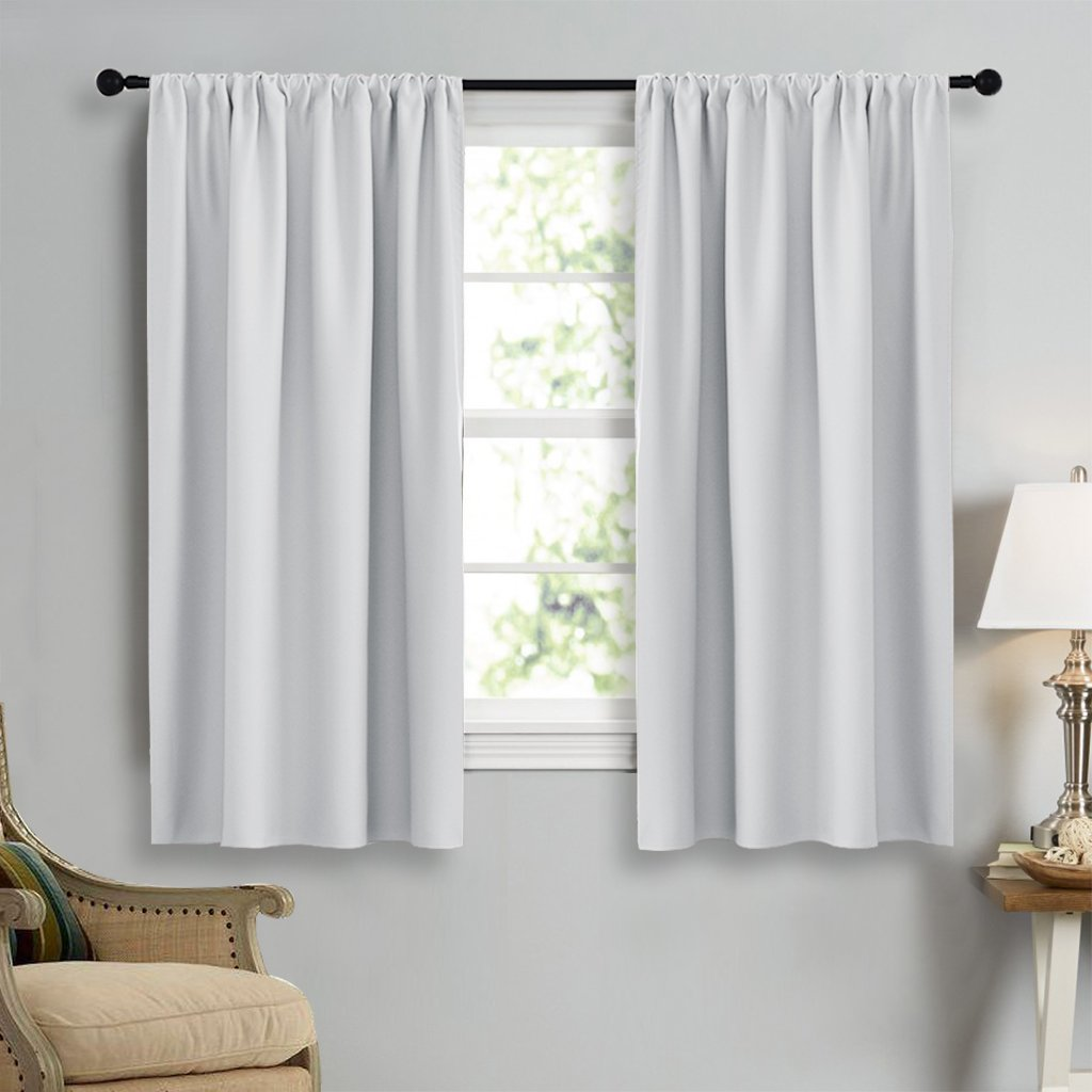 NICETOWN Greyish White Window Curtain Panels - Thermal Insulated Rod Pocket Room Darkening Curtain Sets for Bedroom (Platinum - Greyish White,2 Panels,42 by 45) by NICETOWN (Image #3)