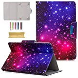 7 inch quad tablet case - 9.5-10.5 inch Universal iPad Case, Cookk Ultra Slim Multi-Angle PU Leather Magnetic Closure Case Cover [Cards/Money Slots] Stand Wallet Protective Case for All 9.5-10.5 Tablet, Colorful Starry Sky