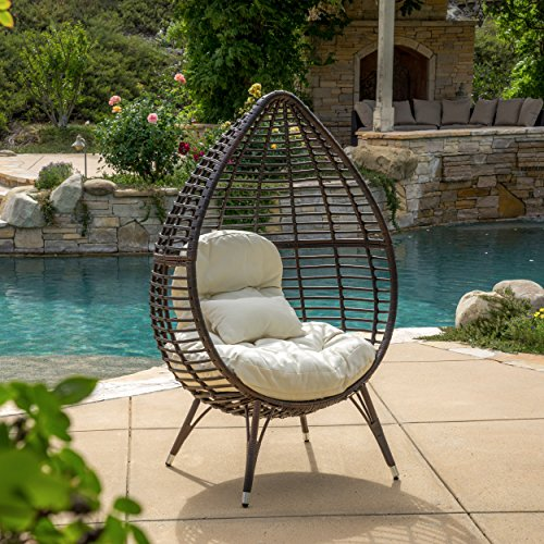 Christopher Knight Home 295805 Dermot Multibrown Wicker Lounge Teardrop Chair w/Cushion, Brown (Offers Chair Wicker Egg Hanging)