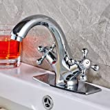 "Rozin Deck Mounted Double Knobs Basin Faucet Single Hole Bathroom Sink Mixer Tap with 6"" Cover Plate Chrome Finish"