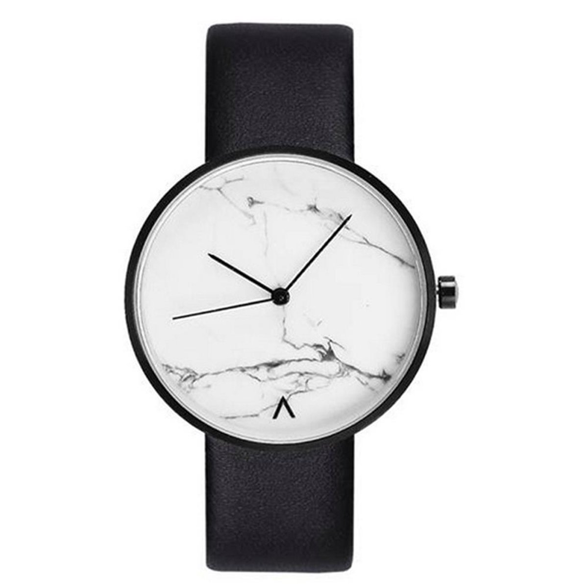 Unisex Men Women Watch Quartz Movement Couple Watches Marble Cover Dial Genuine leather Strap Boy Girl Watches Casual Students Wristwatch (White)