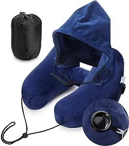Cheelom Almohada de viaje inflable para el cuello en forma de H con capucha soporte para la cabeza del cuello de 360° ultra comodidad para viajar aviones automóviles trenes y oficinas camping