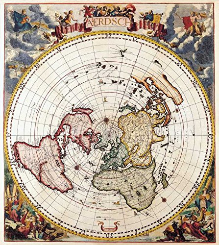 The Museum Outlet - Art Postcard - Polar Map, Cornelis Dankertz 1700 - Set of 12 - Map Orange Outlets