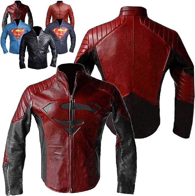 Mens Superhero Motorcycle S Logo Welling Biker Leather Jacket Collection