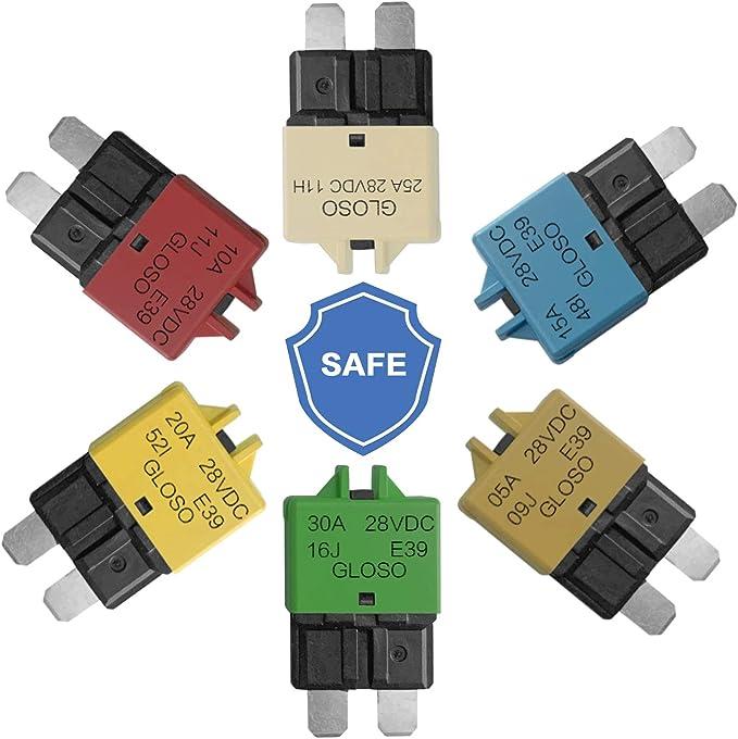 RKURCK 12V-28V 5A 10A 15A 20A 30A Manual Reset Low Profile ATC Circuit Breaker 6 Pcs Mixed
