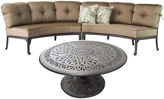 Round sofa Elisabeth Cast Aluminum 3pc Deep Seating Patio set – Desert Bronze