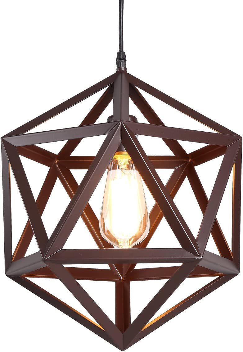 HOMIFORCE Industrial 1 Light Large Brown Wrought Iron Pendant Lights with Metal Cage Shade in Matte-Brown Finish-Modern Industrial Hanging for Kitchen Island,Close to The Ceiling Tempel Bronze