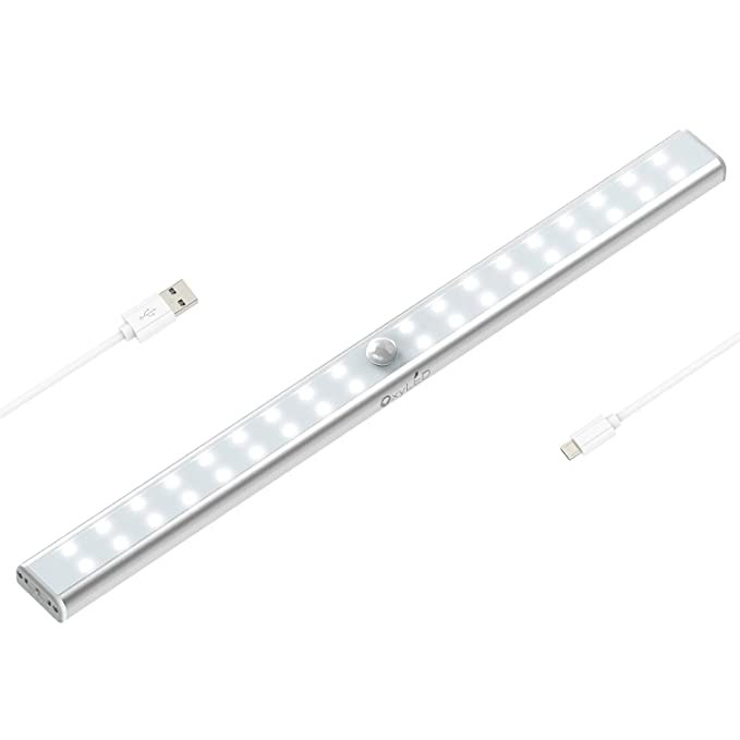 Oxy Led T 02 Us 36 Led Sensing Usb Rechargeable Under Cabinet Lightening, Stick On Cordless Motion Sensor Wardrobe Bar, Super Bright Closet Light With Magnetic Strip by Oxy Led