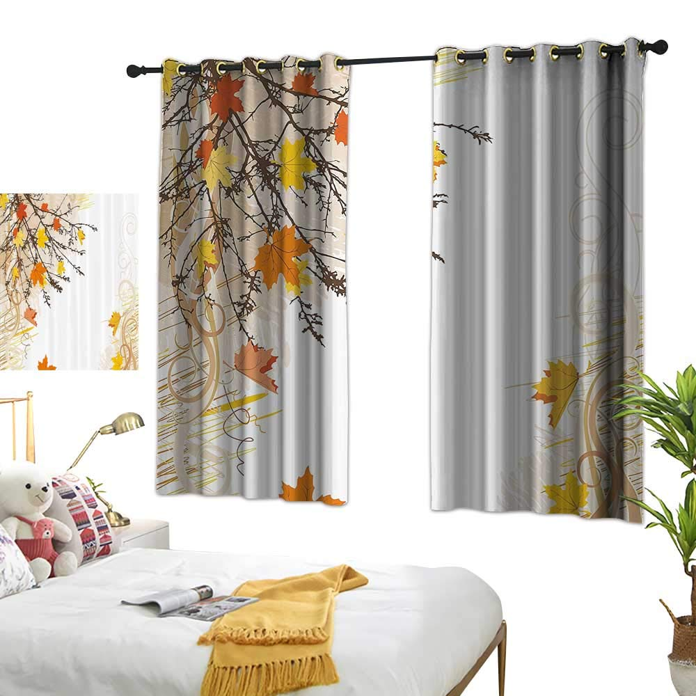 """Warm Family Light Luxury high-end Curtains Nature Autumn Maple Leaves Branches in Fall Earthen Tones Faded Woodland Art Print Darkening and Thermal Insulating 63"""" Wx63 L"""