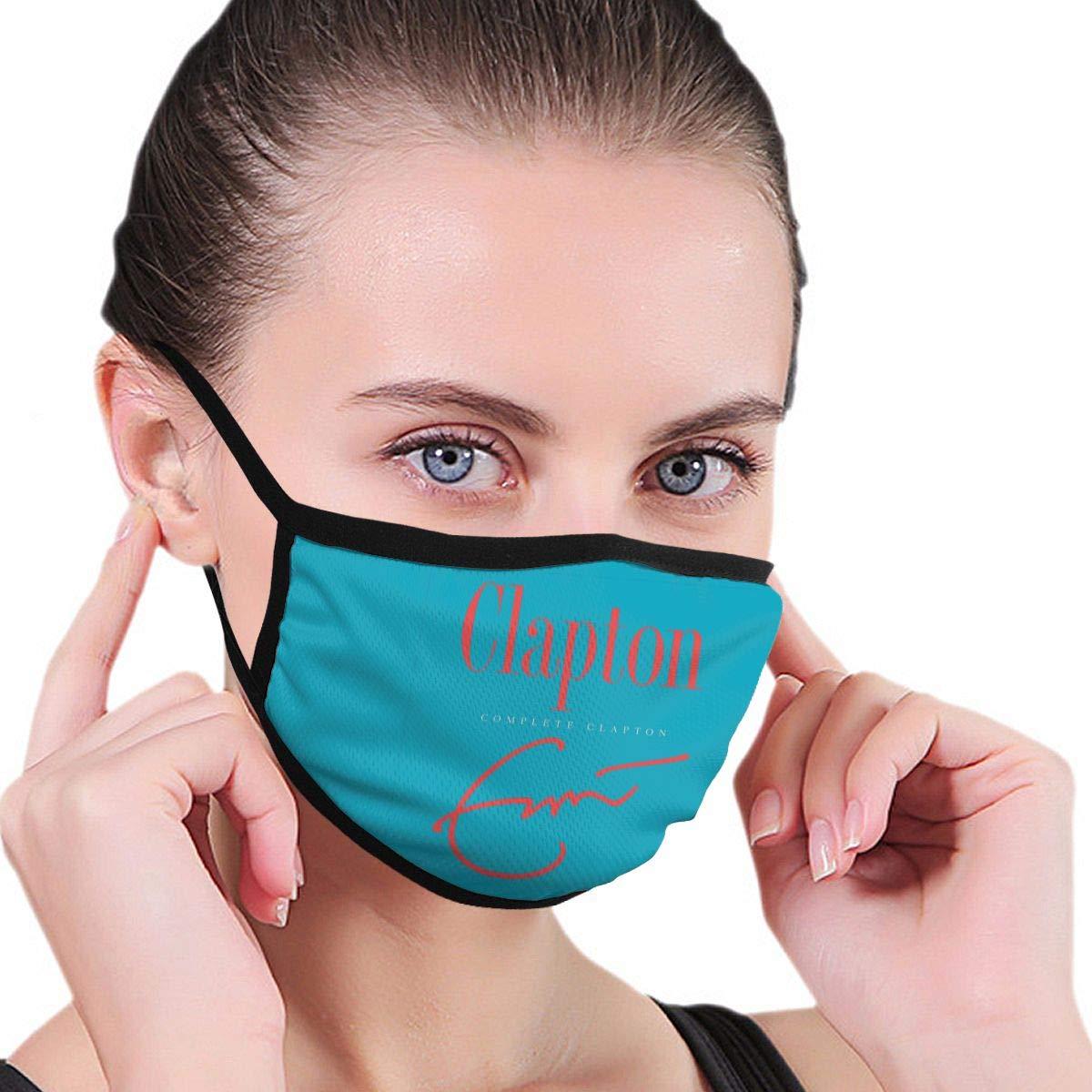 Ioejhkjk Er-IC Clap-Ton máscara Completa Lavable Boca Cubierta Reutilizable Resistente al Viento Caliente, poliéster, Negro, Talla única