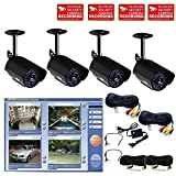 VideoSecu 4 Channel MPEG4 USB DVR System Internet Remote Control, including Color Infrared IR Security Cameras, Pre-Amp Mini Hidden Microphones ,4 CH Power Supply and Camera Extension Cables WAN