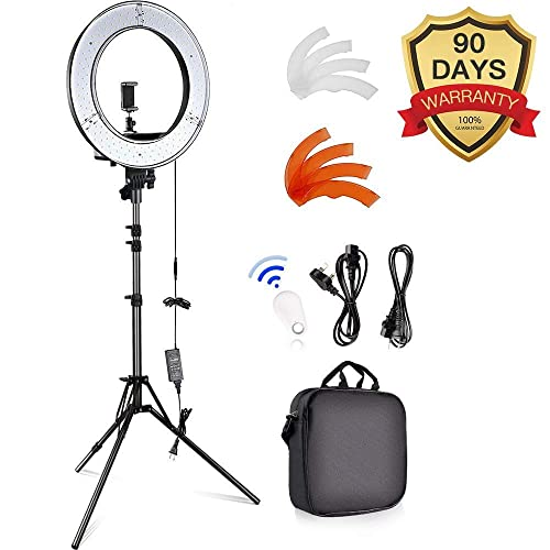 """18-inch Ring Lights with Stand, Camera Photo Video 18""""/ 48cm Outer 55W LED Ring Light Photography Studio Light Stands for Smartphone Youtube Self-Portrait Video Shooting"""