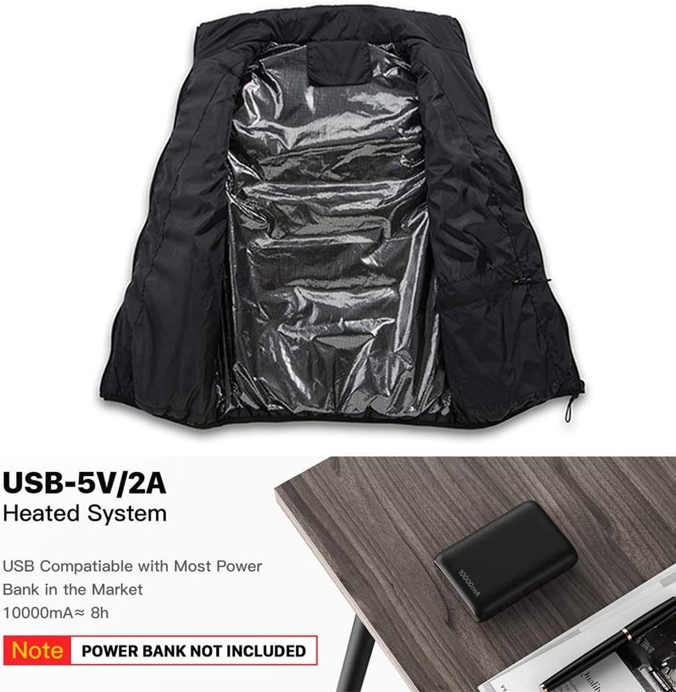 Chaleco Calefactado De 3 Capas De Fibra De Carbono USB Chaleco Calefactor Unisex con Aislamiento Ligero Y Aislado Adecuado para Senderismo Acampada En Motocicleta Caza