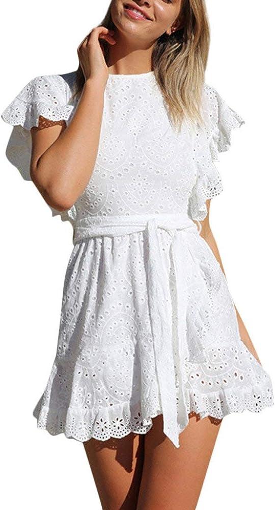 Vestidos Cortos Mujer Verano Casual Vestido de Encaje Manga Corta Vestido de Noche Falda de Verano
