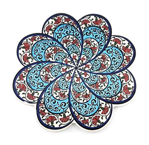 Handmade Turkish Ceramic Pottery Flower-shape Tile Trivet (Trivet B)