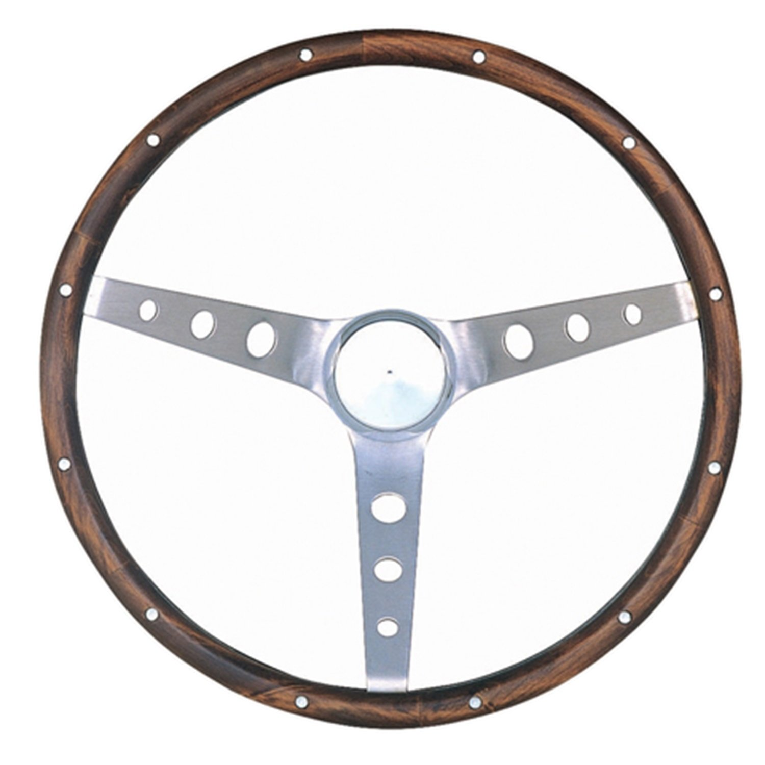 Grant 966-0 Classic Nostalgia Style Steering Wheel with Walnut Grip and Brushed Stainless Spokes Grant Products