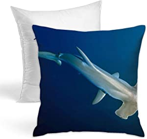 KIENGG Scalloped Hammerhead Shark Decorative Throw Pillow for Bed Couch Cushion Cover Square Pillowcases 18 X 18 Inches Double Side(Contain Pillow Core)