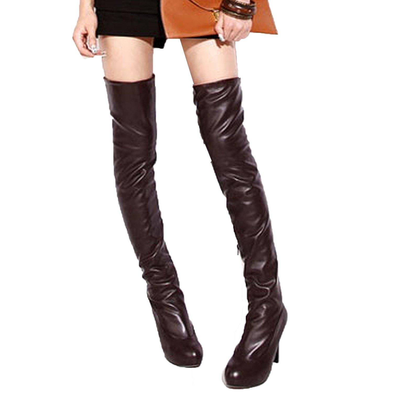 7cca30cb03c Amazon.com | Nonbrand Ladies Pull On Thigh Length Boots Stiletto ...