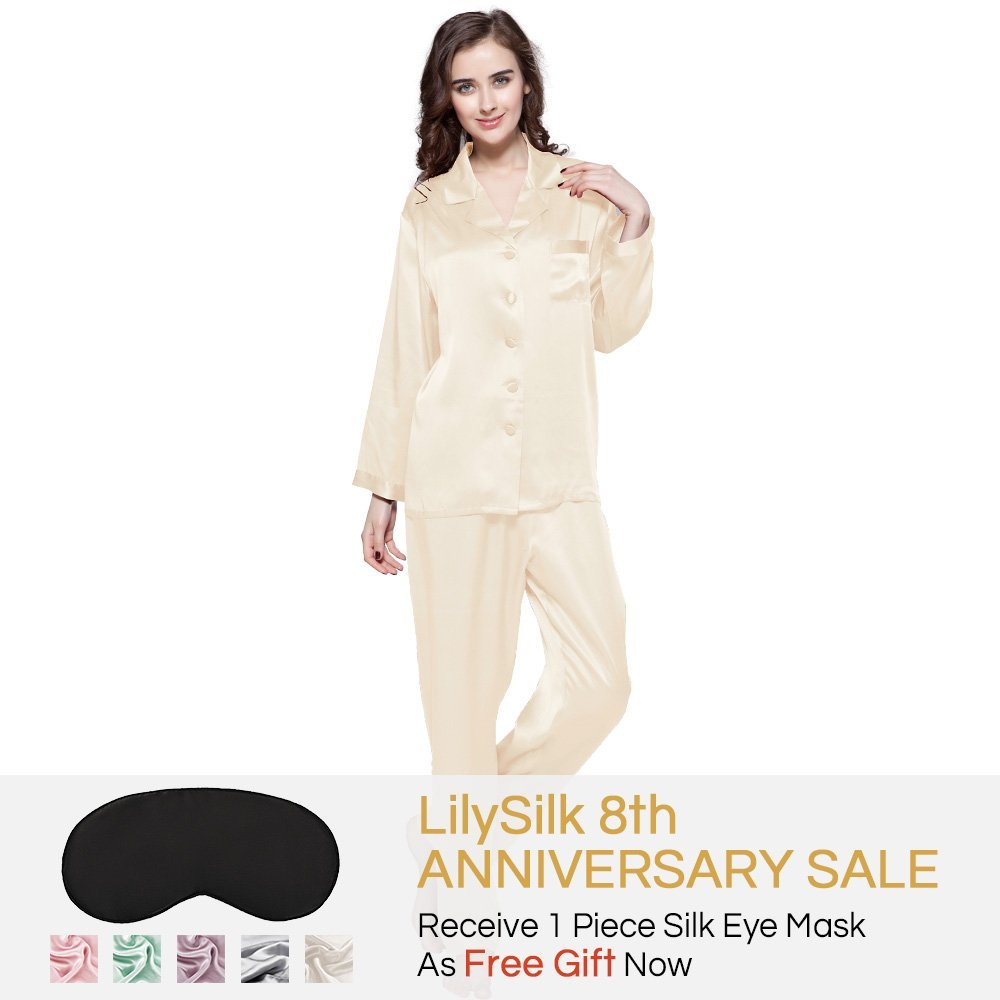 2c0b8550f2 LilySilk Women's 100% Pure Silk Pajama Set Long Sleeves 22 Momme Mulberry  Silk: Amazon.ca: Clothing & Accessories