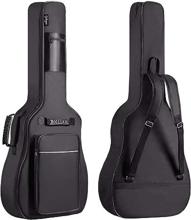 Oferta amazon: CAHAYA Funda de Guitarra Universal [Nuevo Versión Mejorada], Acolchada con 2 bolsillos para Guitarra Acústica, Clásica y Eléctrica con raya de color blanco (Tamaño de guitarra 40/41/42