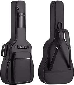 CAHAYA Funda de Guitarra Universal [Nuevo Versión Mejorada], Acolchada con 2 bolsillos para Guitarra Acústica, Clásica y Eléctrica con raya de color blanco (Tamaño de guitarra 40/41/42