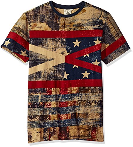 Akademiks Men's Stars and Stripes Vintage T-Shirt, Blue, Large