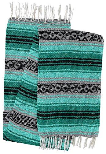 El Paso Designs Genuine Mexican Falsa Blanket - Yoga Studio Blanket, Colorful, Soft Woven Serape Imported from Mexico (Teal, Gray and - Studio Design 2