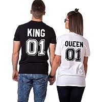 King Queen Couple Shirt T-Shirt 100% Coton Tees Shirts Pour Roi Reine Imprimé 01 Tops à Manches Courtes Anniversaire Cadeau D'Amour 2 Pièces Chemise Casual Été