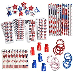 Ultimate 4th of July Party Favor Pack (145 Piece) Includes USA American Flag Themed Patriotic Pencils, Rope Bracelets, Stickers, Bubbles, Rings, Glittered Tattoos - Independence Day Gift for Kids