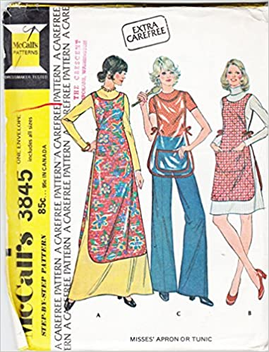 McCall\'s 3845 Vintage 70s Lined Apron or Tunic Sewing Pattern with ...