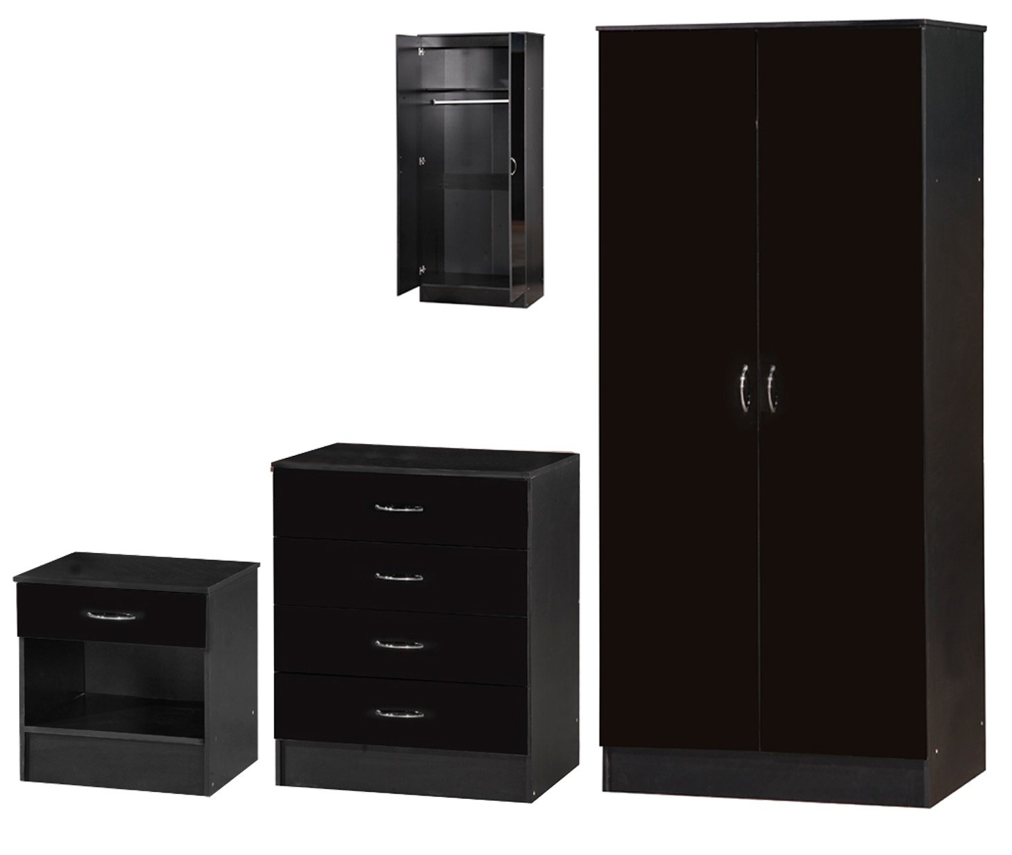 Alpha Black Two Tone 3-Piece Set Standard, Wood, 46.5x76x180.5 cm AL-BLK04006SET